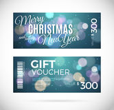 Merry Christmas and happy New Year gift voucher design, Royalty Free Stock Images