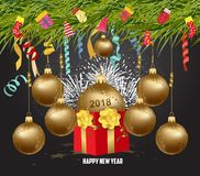 Merry christmas and  happy new year 2018with gift. Wallpaper balls gold Stock Images