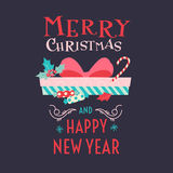 Merry Christmas and Happy New Year. 2017. Merry Christmas and Happy New Year. Gifts, boxes and sweets in flat style. Vector illustration Royalty Free Stock Images