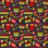 Merry Christmas and Happy New Year. 2017. Merry Christmas and Happy New Year. Gifts, boxes and sweets in flat style. Vector seamless pattern with objects Royalty Free Stock Photos