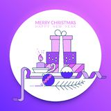 Merry Christmas and Happy New Year. Gifts with a candle and orna. Merry Christmas and Happy New Year. Christmas gifts with a candle and ornaments stock illustration
