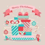 Merry Christmas and Happy New Year. 2017. Merry Christmas and Happy New Year. Gifts and fir tree with toys. Vector illustration Royalty Free Stock Photo