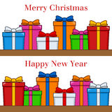 Merry Christmas & Happy New Year Gifts Stock Photos
