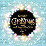Merry Christmas and Happy New Year 2017. Glowing Christmas wreath. Made of led lights on the wooden background. Christmas lights background. Vector vintage royalty free illustration