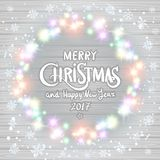 Merry Christmas and Happy New Year 2017. Glowing Christmas wreath. Made of led lights on the wooden background. Christmas lights background. art royalty free illustration