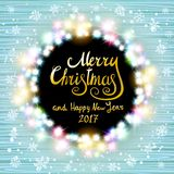 Merry Christmas and Happy New Year 2017. Glowing Christmas wreath. Made of led lights on the wooden background. Christmas lights background. Vector vintage stock illustration