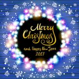 Merry Christmas and Happy New Year 2017. Glowing Christmas wreath. Made of led lights on the wooden background. Christmas lights background. Vector vintage Stock Photo