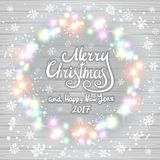 Merry Christmas and Happy New Year 2017. Glowing Christmas wreath. Made of led lights on the wooden background. Christmas lights background. art stock illustration