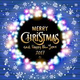 Merry Christmas and Happy New Year 2017. Glowing Christmas wreath. Made of led lights on the wooden background. Christmas lights background. Vector vintage Stock Photos