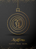 Merry Christmas Happy New Year Gold 2016 Spiral Shape. Ideal For Xmas Card Or Elegant Holiday Party Invitation. EPS10 . Stock Photography