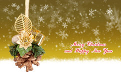 Merry Christmas and Happy New Year gold background with balls. Merry Christmas and Happy New Year gold background with Christmas balls vector illustration