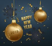 Merry christmas and  happy new year 2018 gold balls Stock Photos