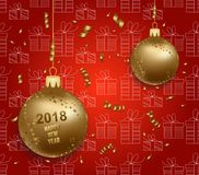Merry christmas and  happy new year 2018 gold balls Royalty Free Stock Images