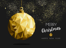 Merry christmas happy new year gold bauble origami. Merry christmas happy new year fancy gold ornament bauble shape in hipster origami style. Ideal for xmas card Stock Photo