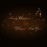 Merry Christmas Happy New Year gold card. Merry Christmas and Happy New Year gold text. Holiday background. Golden type decorative design for card, banner Stock Photography