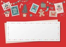 Christmas decorative card, border, frame stock illustration
