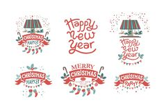 Christmas market, Christmas party, Happy New Year royalty free illustration