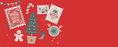 Festive Christmas border, frame, card stock illustration