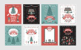 A set of posters or postcards Christmas market, Happy New year and Christmas. With festive decor, garlands, gifts, a carousel with horses, Christmas sweets vector illustration