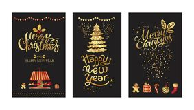Merry Christmas and Happy New year gold emblem. Sign set on black background. Garland, gifts and carousel with horses. Typography vector design for festive vector illustration