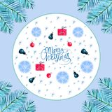 Merry Christmas and Happy New Year frame decoration with snowflakes, nature and holiday ornaments. Merry Christmas and Happy New Year frame decoration with deer stock illustration