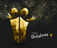Merry christmas happy new year gold gift low poly. Merry christmas and happy new year fancy gold gift box in hipster triangle low poly style. Ideal for xmas Royalty Free Illustration