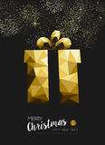 Merry christmas happy new year gold gift triangle Royalty Free Stock Photos