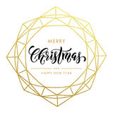 Merry Christmas, Happy New Year gold glitter card, poster. Merry Christmas, Happy New Year gold glitter wreath, lettering trend modern design. Christmas greeting vector illustration