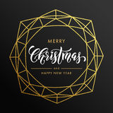 Merry Christmas, Happy New Year gold glitter card, poster. Merry Christmas, Happy New Year gold glitter wreath, lettering trend modern design. Christmas greeting stock illustration