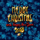 Merry Christmas and Happy New Year 2018 gold glittering lettering design. blue snowflakes background Vector illustration EPS 10. Art Stock Illustration