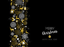 Merry christmas happy new year gold pattern retro. Merry christmas happy new year luxury golden seamless pattern on black background with deer and holiday Royalty Free Illustration