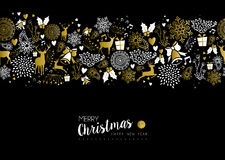 Merry christmas happy new year gold pattern retro. Merry christmas happy new year luxury gold seamless pattern on black background with deer, nature, and holiday Royalty Free Illustration