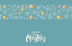 Merry Christmas and Happy New Year gold seamless pattern Royalty Free Stock Photo