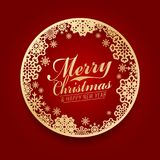 Merry Christmas and happy new year with Gold snow circle frame on red background Royalty Free Stock Photography