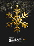 Merry christmas happy new year gold snow origami Stock Images