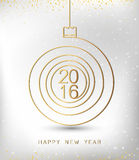 Merry christmas happy new year gold 2016 spiral shape. Ideal for xmas card or elegant holiday party invitation. EPS10 vector. Merry christmas happy new year stock illustration