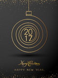 Merry christmas happy new year gold 2017 spiral shape. Ideal for xmas card. Or elegant holiday party invitation. Vector Royalty Free Stock Image