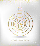 Merry christmas happy new year gold 2017 spiral shape. Ideal for xmas card or elegant holiday party invitation. Stock Photos