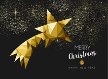 Merry christmas happy new year gold star triangle. Merry christmas and happy new year fancy gold shooting star in hipster low poly triangle style. Ideal for xmas Royalty Free Illustration