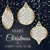 Merry Christmas and Happy New Year golden and black card Royalty Free Stock Photos