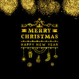 Merry christmas happy new year golden card. gold Christmas typographic message with glitter, hanging toys, bauble, gift,, sock. Id. Eal for xmas card or elegant Stock Illustration
