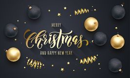 Merry Christmas and Happy New Year golden decoration, hand drawn calligraphy gold font for greeting card premium black background vector illustration