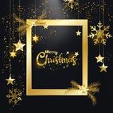 Merry Christmas Happy New Year golden glitter christmas elegant frame decoration black background. Merry Christmas and Happy New Year, Golden glitter of stock illustration