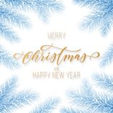 Merry Christmas and Happy New Year golden hand drawn calligraphy on fir tree branch wreath ornament for holiday golden greeting ca. Rd. Vector Christmas Royalty Free Stock Photography