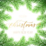 Merry Christmas and Happy New Year golden hand drawn quote calligraphy font on wreath ornament for holiday greeting card. Vector C. Hristmas fir tree branch Stock Images