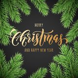 Merry Christmas and Happy New Year golden hand drawn quote calligraphy font on wreath ornament for holiday greeting card. Vector C. Hristmas fir tree branch Stock Photography