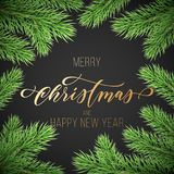 Merry Christmas and Happy New Year golden hand drawn quote calligraphy on pine or fir tree branch wreath ornament for holiday gold. En greeting card. Vector Stock Image