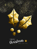 Merry christmas happy new year golden holly low poly Stock Image