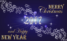 Merry Christmas and Happy New Year 2017 Golden Lettering Typography and Bright Stars on a Dark Blue Background. Stock Image