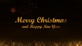 Merry Christmas and Happy New Year 2019 golden light shine particles black background royalty free stock image